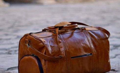 Duffle With Clutch Bag for Shoes Leather Made